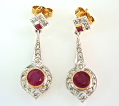 2015 ML Facets/2 Qtr/Art Deco Inspired Ruby and Diamond Earrings CFA1504114 79315