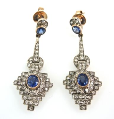 2015 ML Facets/2 Qtr/Art Deco Inspired Sapphire and Diamond Earrings CFA1504111 79312