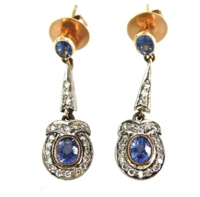 2015 ML Facets/2 Qtr/Art Deco Inspired Sapphire and Diamond Earrings CFA1504118 79320