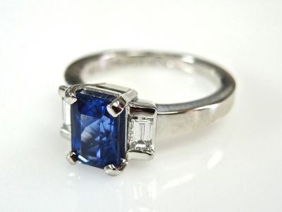 2015 ML Facets/2 Qtr/Art Deco Inspired Sapphire and Diamond Ring CFA1503153 79258