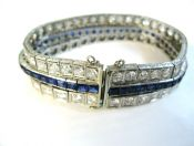 Art Deco Sapphire and Diamond Triple Bracelet