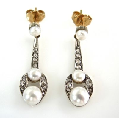 Art Deco Style Pearl and Diamond Earrings