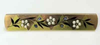 Edwardian Diamond Sapphire Pearl Brooch