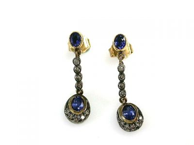 2015 ML Facets/2 Qtr/Edwardian Inspired Sapphire and Diamond Earrings CFA121026 69079B