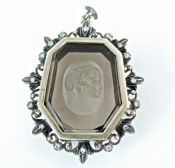 Modern Smoky Quartz Cameo Diamond Pendant