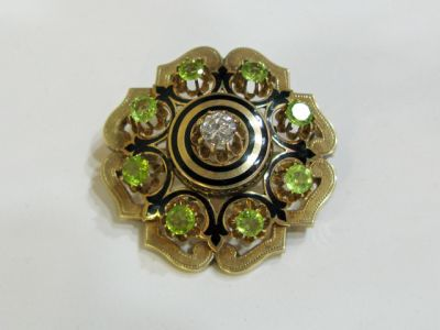 2015 ML Facets/2 Qtr/Victorian Diamond Peridot Enamel Brooch CFA1404454 77627
