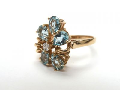 2015 ML Facets/2 Qtr/Vintage Aquamarine and Diamond RIng CFA150253 79138