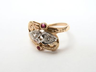 2015 ML Facets/2 Qtr/Vintage Diamond and Ruby Heart Ring CFA150327 79212