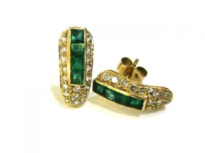 2015 ML Facets/2 Qtr/Vintage Emerald and Diamond Ballet Slipper Earrings CFA1402145 74840