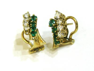 2015 ML Facets/2 Qtr/Vintage Emerald and Diamond Earrings CFA1403298 75431