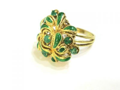 2015 ML Facets/2 Qtr/Vintage Emerald and Enamel Ring CFA1205200 67671
