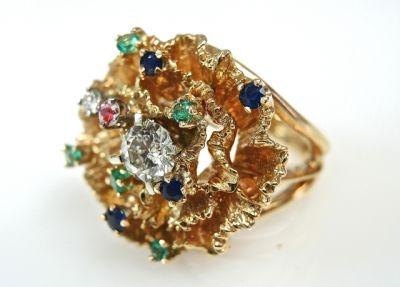 2015 ML Facets/2 Qtr/Vintage Multi Gemstone Floral Ring CFA1504134 79355