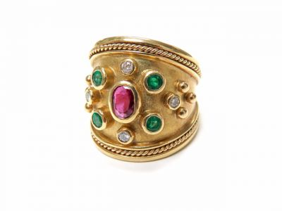 2015 ML Facets/2 Qtr/Vintage Ruby Emerald Diamond Ring CFA1505236 79510