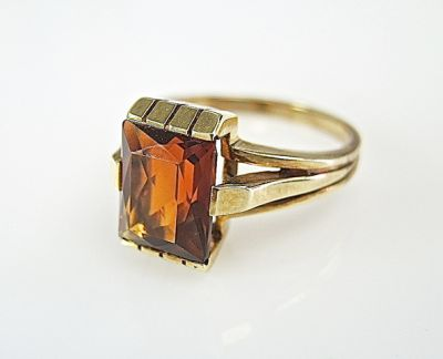 2015 ML Facets/3 Qtr/Art Deco Citrine Solitaire Ring CFA1409125 78675