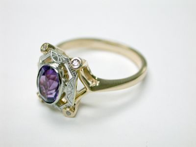 2015 ML Facets/3 Qtr/Art Deco Inspired Amethyst and Diamond Ring CFA140425 75481