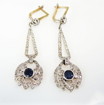 Art Deco Inspired Sapphire and Diamond Earrings