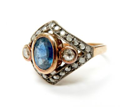 Art Deco Inspired Sapphire and Diamond Ring