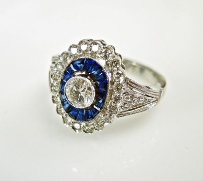 2015 ML Facets/3 Qtr/Art Deco Inspired Sapphire and Diamond Ring CFA150816 79854