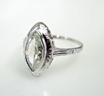 2015 ML Facets/3 Qtr/Art Deco Marquise Diamond Solitaire Ring CFA1505342 79535