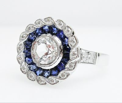 2015 ML Facets/3 Qtr/Edwardian Inspired Sapphire and Diamond Ring AGL54784 79591b