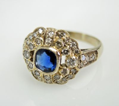 2015 ML Facets/3 Qtr/Edwardian Inspired Sapphire and Diamond Ring CFA1505325 79516
