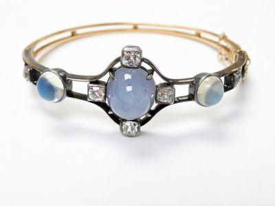 2015 ML Facets/3 Qtr/Edwardian Star Sapphire Moonstone Diamond Bracelet CFA150764 79773