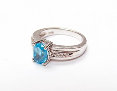 2015 ML Facets/3 Qtr/Modern Blue Topaz and Diamond Ring CFA1505211 79452