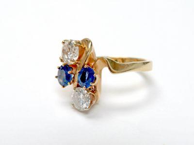 2015 ML Facets/3 Qtr/Modern Custom Made Sapphire and Diamond Ring CFA150775 79760