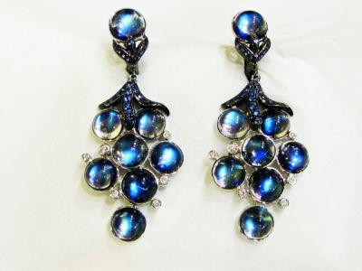 Modern Moonstone Sapphire Diamond Earrings