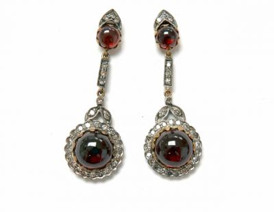 2015 ML Facets/3 Qtr/Victorian Garnet and Diamond Earrings CFA150717 79675