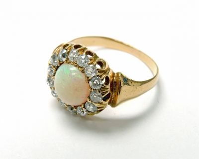 2015 ML Facets/3 Qtr/Victorian Opal and Diamond Ring CFA1507102 79677