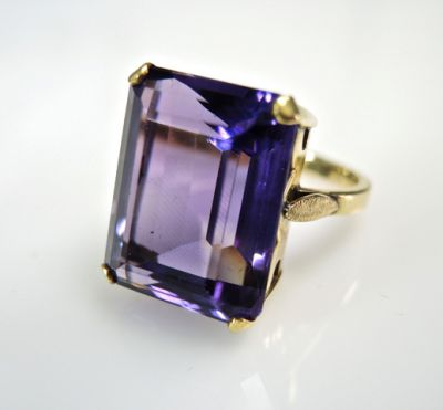 2015 ML Facets/3 Qtr/Vintage Amethyst Solitaire Ring CFA150822 79860