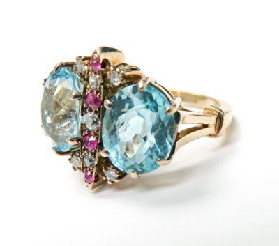 Vintage Aquamarine Ruby Diamond Ring