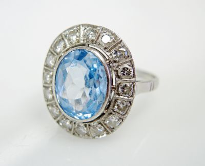 2015 ML Facets/3 Qtr/Vintage Blue Topaz and Diamond RIng CFA1507340 79799