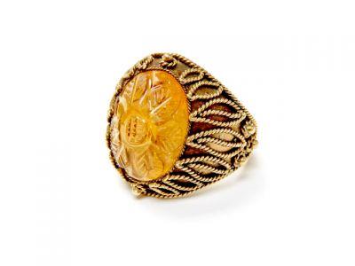 2015 ML Facets/3 Qtr/Vintage Carved Citrine Sunflower Ring CFA150738 79718
