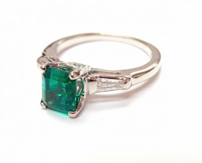 2015 ML Facets/3 Qtr/Vintage Emerald and Diamond Engagement Ring CFA1507202 79791