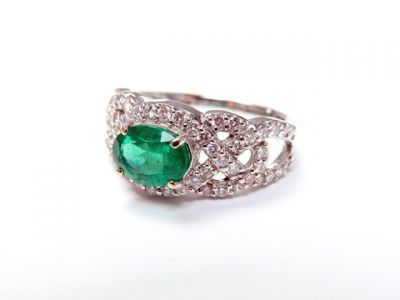 2015 ML Facets/3 Qtr/Vintage Emerald and Diamond Ring CFA150658 79552