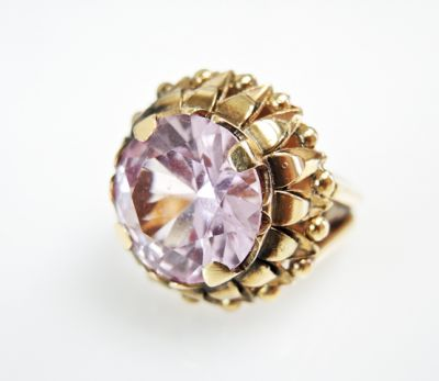 2015 ML Facets/3 Qtr/Vintage Kunzite Solitaire Ring CFA150827 79865