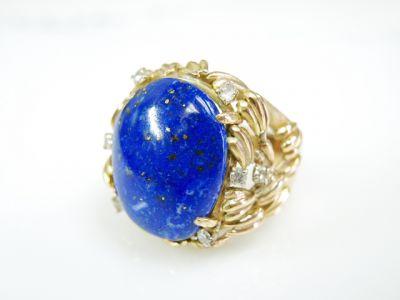 2015 ML Facets/3 Qtr/Vintage Lapis Lazuli and Diamond Ring CFA1507311 79736