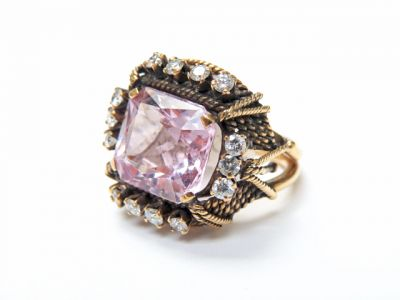 2015 ML Facets/3 Qtr/Vintage Morganite and Diamond Ring CFA150662 79556