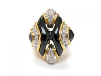 2015 ML Facets/3 Qtr/Vintage Onyx and Diamond Ring CFA1505239 79513