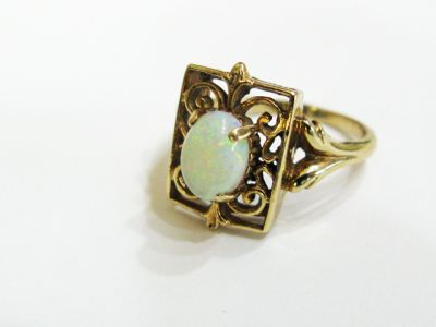 2015 ML Facets/3 Qtr/Vintage Opal Solitaire Ring CFA1409123 78673a