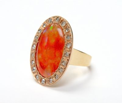 2015 ML Facets/3 Qtr/Vintage Opal and Diamond Ring CFA1507226 79816