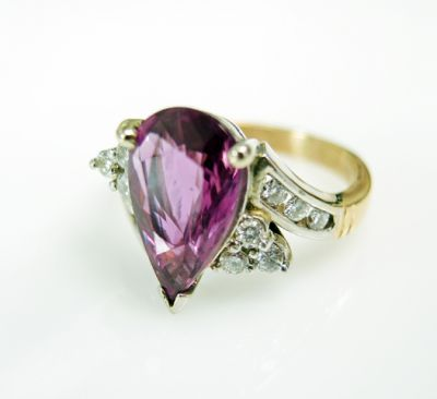 2015 ML Facets/3 Qtr/Vintage Rubellite and Diamond Ring CFA1505340 79533
