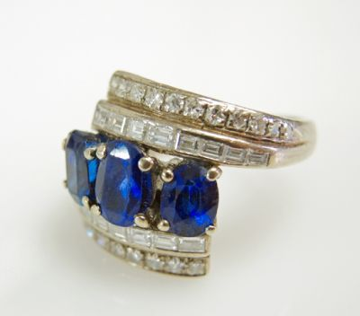 2015 ML Facets/3 Qtr/Vintage Sapphire and Diamond RIng CFA1505337 79530