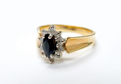 2015 ML Facets/3 Qtr/Vintage Sapphire and Diamond RIng CFA150663 79557