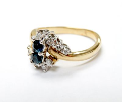 2015 ML Facets/3 Qtr/Vintage Sapphire and Diamond Ring CFA1506146 79634