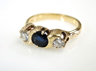 2015 ML Facets/3 Qtr/Vintage Sapphire and Diamond Ring CFA150824 79862