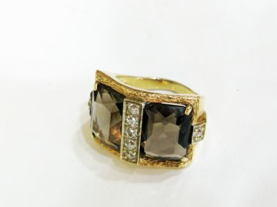 2015 ML Facets/3 Qtr/Vintage Smoky Quartz and Diamond Ring CFA 1507313 79738