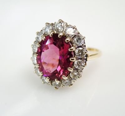 2015 ML Facets/3 Qtr/Vintage Tourmaline and Diamond Ring CFA150855 79917